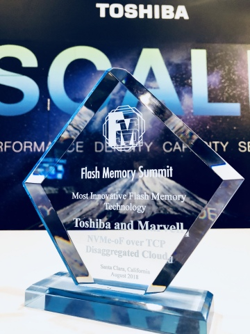 Toshiba Memory and Marvell were recognized by the Flash Memory Summit judging panel for their NVMe-oF over TCP solution that enables disaggregated and virtualized storage for NVMe SSDs. (Photo: Business Wire)