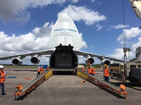 Horizons 3e arriving in French Guiana in advance of its expected launch on September 7, 2018. (Photo: Business Wire)