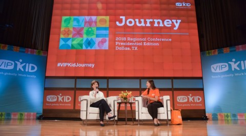 Mrs. Laura Bush and VIPKid Founder and CEO Cindy Mi discuss their passion for education and the future of the classroom (Photo: Business Wire)