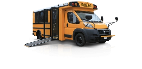 Collins Bus low floor school bus utilizes a ramp rather than an electrical lift, providing increased ...