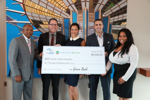 Green Bank and FHLB Dallas awarded $6,000 in Partnership Grant Program funds to Career Gear, a Houst ...