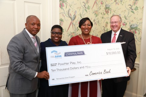 Comerica Bank and FHLB Dallas awarded $10,000 in Partnership Grant Program funds to PowHer Play, a Houston-based organization that supports women in improving their lives. (Photo: Business Wire)