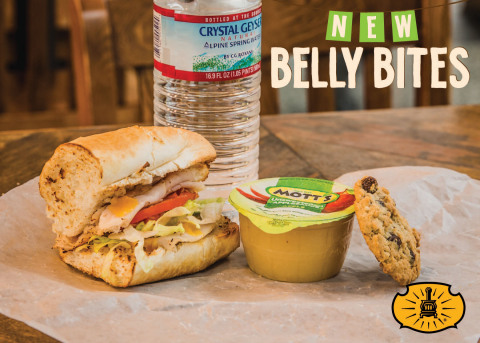Kids eat free with the purchase of an adult entrée this week at Potbelly Sandwich Shop starting Aug. 13 through Aug. 19. Pictured is the new Belly Bites meal that comes with a kid-size entrée, Mott's® applesauce, choice of drink and a mini cookie. (Photo: Business Wire)