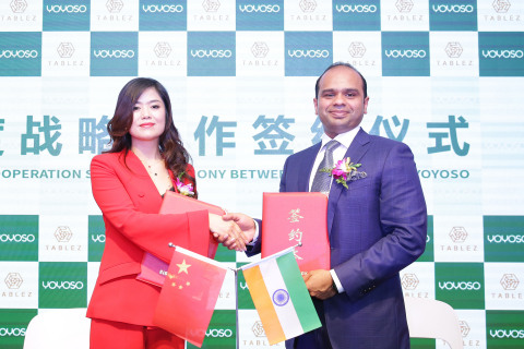 Mr. Adeeb Ahamed, Managing Director, Tablez and Ms. Ma Huan, Brand Founder, YOYOSO, during the strat ...