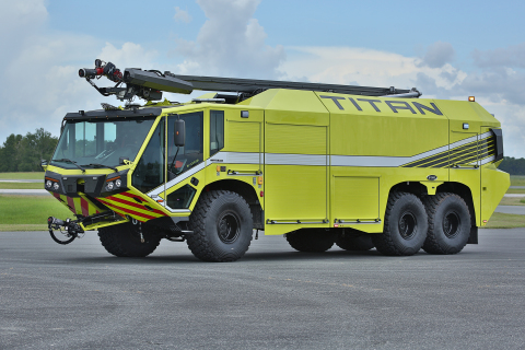 The new E-ONE TITAN 6x6 Aircraft Rescue and Firefighting Vehicle provides advanced capabilities to f ...