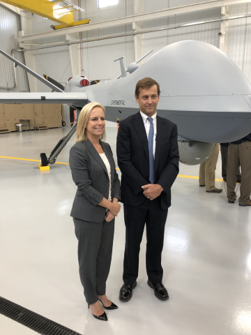 Secretary for Homeland Security Kirstjen Nielsen (left) with General Atomics Aeronautical Systems, I ...