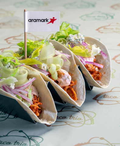 Aramark, the food service provider that partners with more NFL teams and serves more football fans than any other hospitality company, is kicking off football season with the debut of the 30 hottest new menu items across the NFL, including these Buffalo Chicken Tacos from Heinz Field. (Photo: Business Wire)