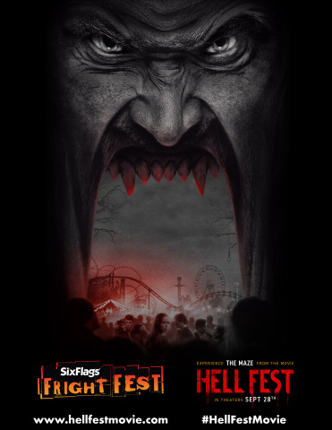 Dare to enter the maze from the movie Hell Fest, in theaters Sept 28th, during Fright Fest, at Six Flags Magic Mountain, Six Flags Great Adventure and Six Flag Great America. (Photo: Business Wire)