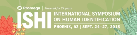The International Symposium on Human Identification (ISHI), the largest international conference on DNA analysis for human identification, draws professionals in the fields of forensic DNA analysis, genetic genealogy, forensic anthropology and law enforcement. They will gather for the 2018 symposium September 24–27, 2018, at the Phoenix Convention Center in Phoenix, Arizona. (Graphic: Business Wire)