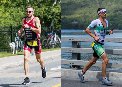 From left: Skechers elite runners and fellow Canadians Cody Beals and Lionel Sanders finish first an ...