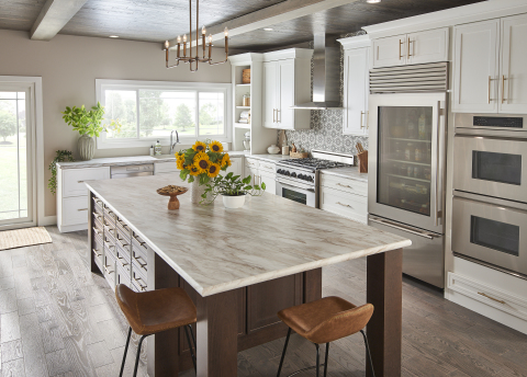 A striking white marble design with vivid grey, brown, and bronze veining. This type of marble is mi ...