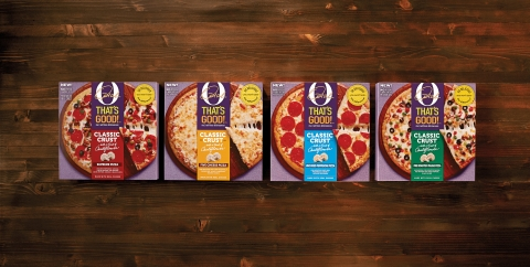 O, That's Good! Frozen Pizza is available in four delicious flavors - Pepperoni, Five Cheese, Supreme and Fire Roasted Veggie (Graphic: Business Wire)