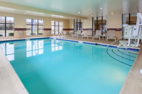 Swim team practice, anyone? The indoor pool is heated. (Photo: Business Wire)