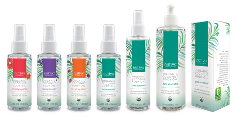Nutiva®, pioneer of plant-based organic superfoods that nurture vitality, today announced the debut of its first body care specific line, Organic Coconut Body Oils. Thoughtfully crafted from young organic coconuts and organic essential oils, Nutiva Organic Coconut Body Oils are available in four scents: Lavender, Grapefruit, Ginger and Unscented. (Photo: Business Wire)