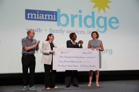 From Left to Right: Peter Schneider, Primerica President; Wendy Mitchell, Miami Bridge Licensed Clin ...