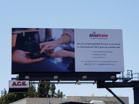Allied Wallet billboard in Sunset Plaza - Los Angeles, California. (Photo: Business Wire)