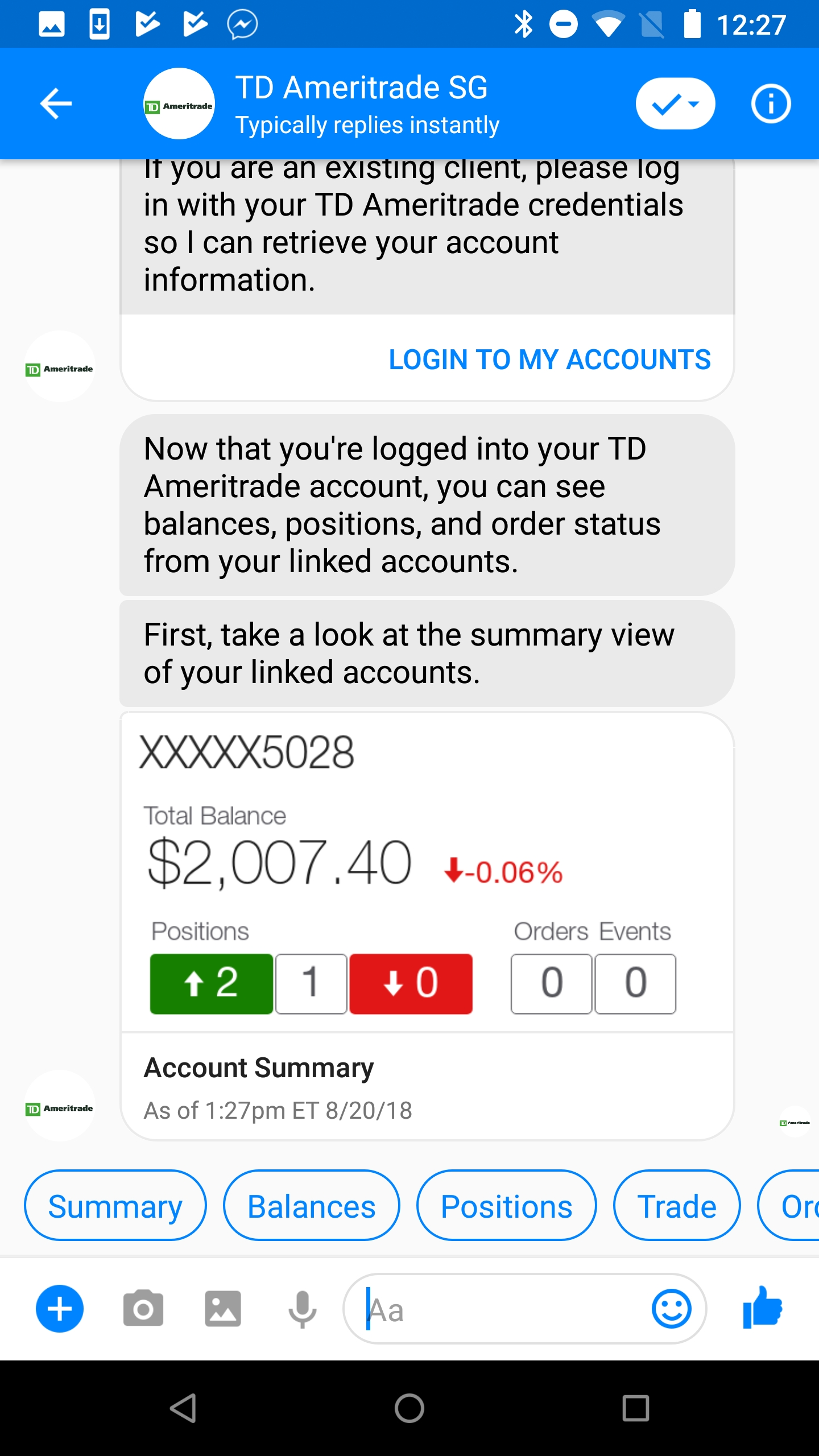 TD Ameritrade Launches AI Powered Chat Bot Experience for
