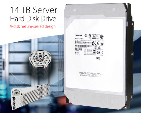 """Toshiba: Enterprise capacity 14TB and 12TB helium-sealed SAS HDD models """"MG07SCA Series"""" (Photo: Business Wire)"""