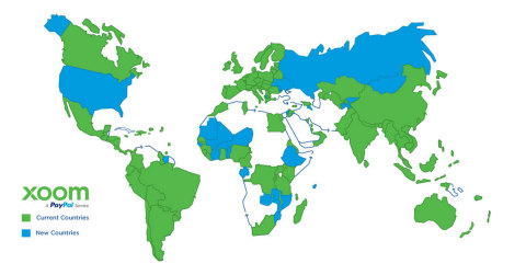Countries where Xoom offers service across the globe. (Graphic: Business Wire)