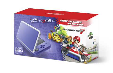 On Sept. 28, a New Nintendo 2DS XL system in a new purple + silver color with the high-octane Mario Kart 7 game pre-installed will be available at a suggested retail price of only $149.99. (Photo: Business Wire)