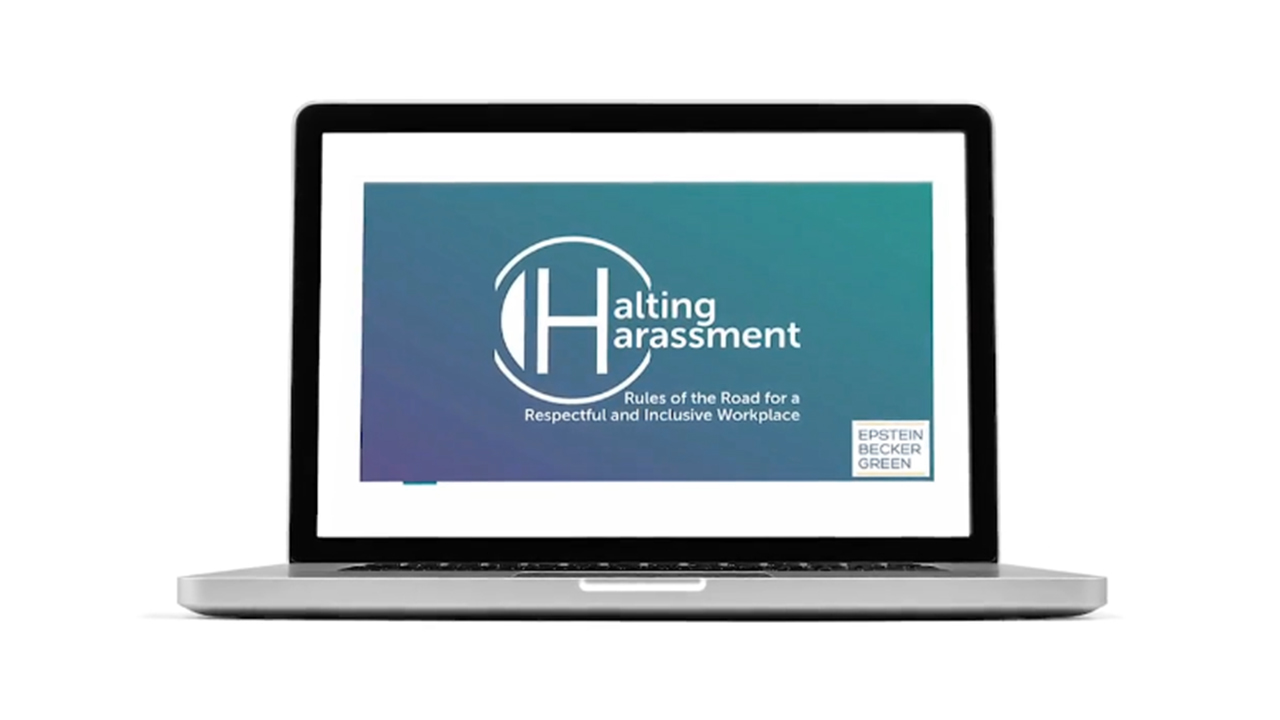 """Halting Harassment offers the """"Rules of the Road"""" video in which EBG attorneys address real-life scenarios"""