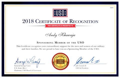 USO awards Dr. Andy Khawaja, CEO of Allied Wallet, with a certificate of recognition for his devotio ...