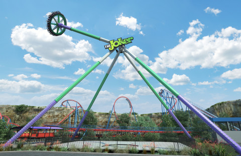 The Joker Wild Card, one of the world's tallest pendulum rides, will debut in early summer 2019 at Six Flags Fiesta Texas, the Thrill Capital of South Texas. (Photo: Business Wire)
