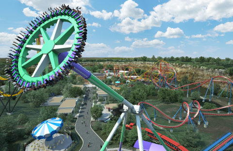 The Joker Wild Card at Six Flags Fiesta Texas will rotate 40 riders counterclockwise as they swing back and forth on a pendulum moving at a thrilling top speed of 75 miles-per-hour. (Photo: Business Wire)