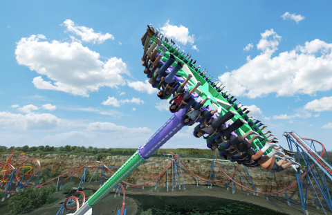 Forty riders will rotate and swing 17 stories high above Six Flags Fiesta Texas on The Joker Wild Card, the newest thrilling attraction with a villainous twist set to debut at Six Flags Fiesta Texas for summer 2019. (Photo: Business Wire)