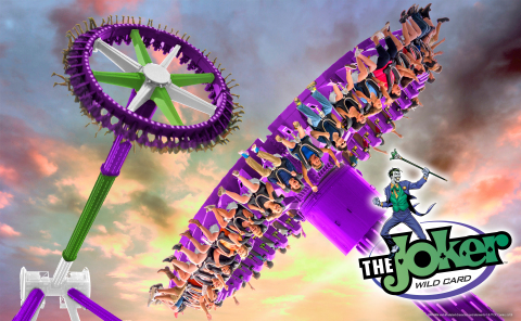Six Flags Fiesta Texas will feature one of the world's tallest pendulum rides, The Joker Wild Card, debuting in early summer 2019. At a record-breaking 17-stories in the air, this impressive giant disk will reach speeds up to 75 miles-per-hour, as it whips back and forth - higher and higher to give riders a staggering view of the world below them. (Photo: Business Wire)