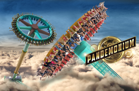 (Rendering) Six Flags Over Georgia — the Thrill Capital of the South — announces the tallest swinging pendulum ride in the Southeast, Pandemonium, will debut in 2019. Towering a staggering 15-stories tall, this impressive giant disk will reach speeds up to 70 miles per hour, as it whips back and forth — higher and higher giving riders an exhilarating riding experience as they soar high above the Atlanta city skyline. (Photo: Six Flags Over Georgia)