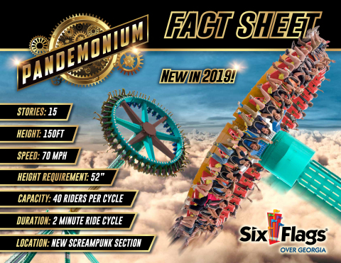 Pandemonium Fact Sheet – the Southeast's tallest pendulum ride set to debut in the spring of 2019 at Six Flags Over Georgia, just outside of Atlanta. (Photo: Six Flags Over Georgia)