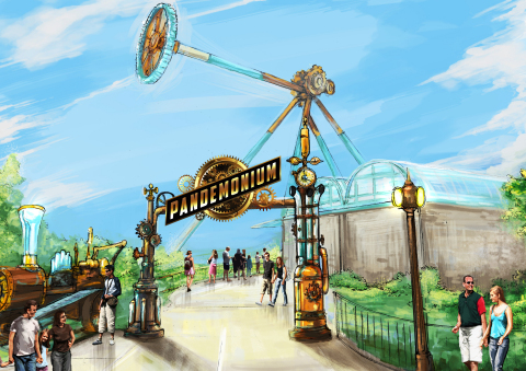 (Rendering) Pandemonium will be the centerpiece of the park's new ScreamPunk-themed area, featuring revamped food locations and shopping experiences in 2019. ScreamPunk is a Six Flags twist on the popular Steampunk subgenre, combining science fantasy with 19th century industrial steam-powered machinery. The ScreamPunk section opens in March. Pandemonium will debut in late spring, 2019. (Photo: Six Flags Over Georgia)