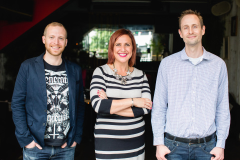 Phrasee founders Parry Malm, Victoria Peppiatt & Dr Neil Yager (L-R) (Photo: Business Wire)