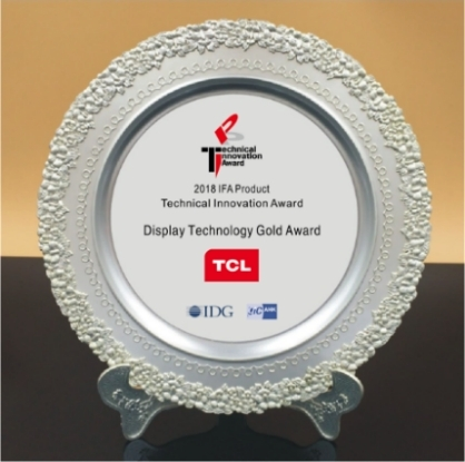 TCL QLED TV X8 awarded 'Display Technology Gold Award' by IDG and GIC/AHK (Photo: Business Wire)