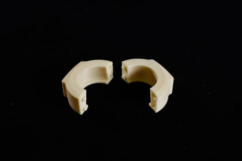 Produced on the Stratasys F900 Production 3D Printer, this small tool enables GKN to quickly cut new bungs to the correct size and enables several parts to be processed at once (Photo: Business Wire)