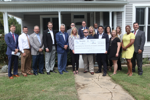 Representatives from BancorpSouth Bank, Evolve Bank & Trust, First Community Bank, First Security Bank, IBERIABANK and the Federal Home Loan Bank of Dallas joined local dignitaries last week to award $26,000 in Partnership Grant Program funds to Habitat for Humanity of Greater Jonesboro. (Photo: Business Wire)