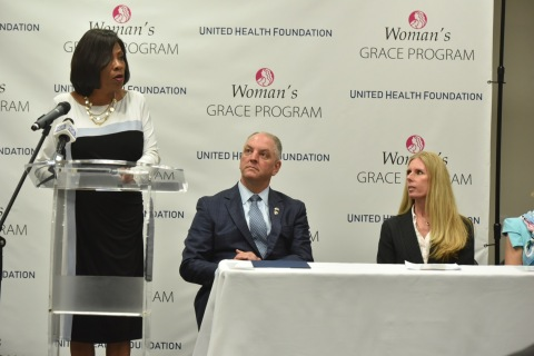Baton Rouge Mayor-President Sharon Weston Broome helps announce the GRACE program that will help expectant mothers with opioid use disorder as Governor John Bel Edwards and Heather Cianfrocco, UnitedHealthcare Community & State CEO, look on (Photo: Jeff Strout).