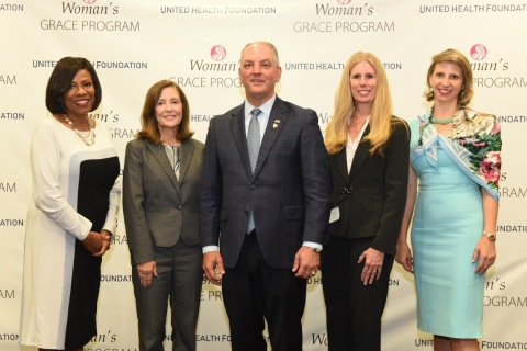 Baton Rouge Mayor-President Sharon Weston Broome, Woman's Hospital CEO Teri Fontenot, Governor John Bel Edwards, Heather Cianfrocco, UnitedHealthcare Community & State CEO, and Louisiana Department of Health Secretary Dr. Rebekah Gee announce the launch of the GRACE program at Woman's Hospital (Photo:Jeff Strout).