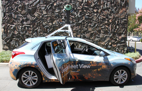 Google Street View Car equipped with Aclima's mobile air quality sensing platform. (Photo: Business Wire)