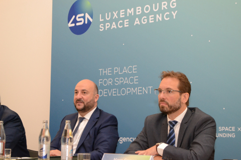 (left to right) : Étienne Schneider, Deputy Prime minister, Minister of the Economy of the Grand Duchy of Luxembourg ; Marc Serres, CEO of the Luxembourg Space Agency (Photo: Business Wire)