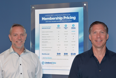 John Tangredi, VP, Operations at Lindora, and Will Righeimer, CEO at Lindora, have lead the introduction of Lindora's subscription membership program which is driving dramatic growth for the weight loss and wellness company. (Photo: Business Wire)
