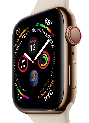 The redesigned Apple Watch Series 4 features a stunning display with thinner borders and curved corners. (Photo: Business Wire)