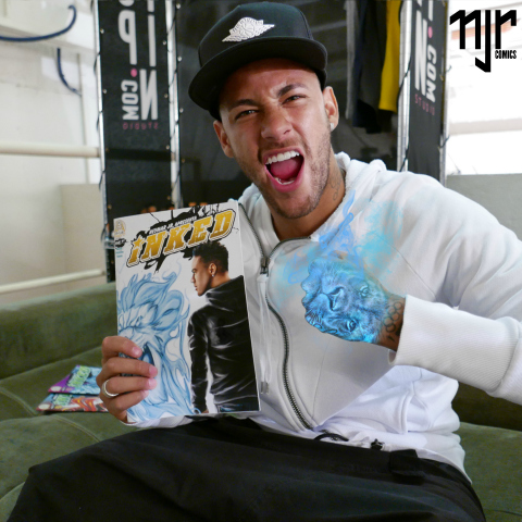Neymar Jr. holds an issue of Neymar Jr. Comics (Photo: Business Wire)