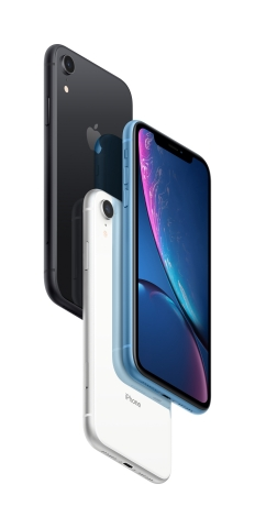 iPhone XR comes in six new finishes: white, black, blue, yellow, coral and (PRODUCT)RED. (Photo: Business Wire)