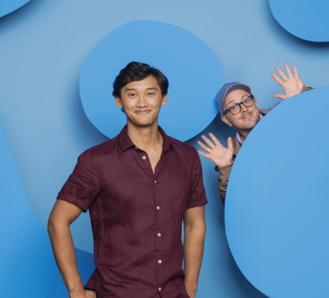 Joshua Dela Cruz, new host of Blue's Clues & You and Steve Burns, original host of Blue's Clues (Photo: Business Wire)