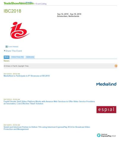 IBC2018 Exhibitor News and Digital Media Available (Graphic: Business Wire)