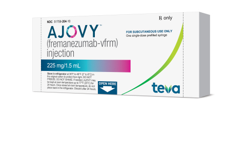 AJOVY™ (fremanezumab-vfrm) from Teva Pharmaceuticals receives F.D.A. Approval Sept. 14, 2018 (Photo: Business Wire)