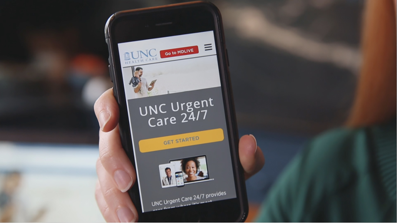 UNC Health Care has extended its offer of free access to its virtual care service, UNC Urgent Care 24/7, through Sunday, September 23rd (Photo: Business Wire)