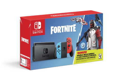 On Oct. 5, a new Nintendo Switch bundle featuring special items from the game rockets into stores at a suggested retail price of $299.99. The Nintendo Switch: Fortnite – Double Helix Bundle includes a Nintendo Switch system, 1,000 V-bucks (in-game Fortnite currency) and the Double Helix Set, consisting of a unique Character Outfit, Back Bling, Glider and Pickaxe. (Photo: Business Wire)